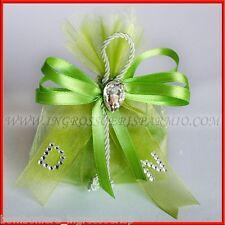 Sacchetti Originali Confettata Verde con Strass e Iniziali Bomboniera 18 Anni