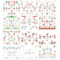 12 Sheet 3D Nail Art Stickers Christmas Snowflakes Snowmen Tips Decoration DIY