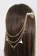 New Women Gold Metal Head Chains Cross Pins Black White Triangle Fashion Jewelry