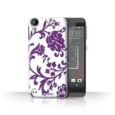 STUFF4 Case/Cover for HTC Desire 530/Floral Stamp Pattern/Purple Flowers