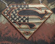 SUPERMAN AMERICAN FLAG TACTICAL OP MILITARY FOREST VELCRO® BRAND FASTENER PATCH