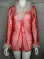 Robe Lingerie Sexy Sheer Transparent Red White Feathers Short Santa Christmas M