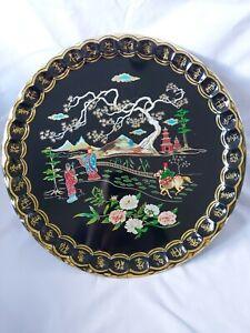 Cathay Serving Tray Black Gold Oriental Scene Baret Ware Metal Circular 47cm