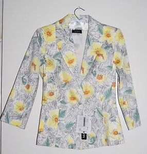 """Max & Co Women's """"Giacca"""" Lined Spring Yellow Floral 3/4 Sleeve Blazer sz 02"""