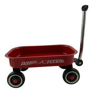 "Vintage Mini Little Red Radio Flyer Wagon Doll Sized Metal 12.5"" x 7.5"" x 5 1/2"""