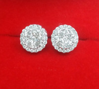 Deal! 1.05CT NATURAL ROUND DIAMOND HALO CLUSTER STUDS EARRINGS IN 10K GOLD 9MM
