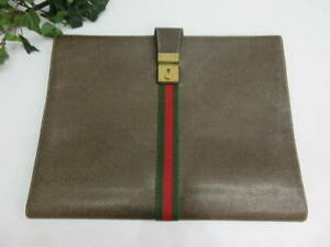 Genuine Old Gucci Bag Sherry Line Folded Document Bag with Key