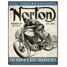 Sign - Norton - World's Best Roadholder Motorcycle Wall Art Decorative Sign Mens
