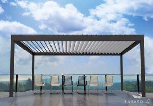 Aluminium-Terrassendach mit verstellbaren Lamellen Wetterschutz Sonnenschutz