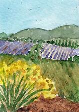 ACEO Fields of Lavender & Genet Original Watercolor Painting by Kay Fuller