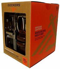 Dockers Mens 2 Two Leather Wardrobe Belts Reversible Dress Box Gift Set XL 42-44