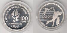 Coffret BE 100 francs argent Alberville 1992 patineurs de vitesse et marmotte