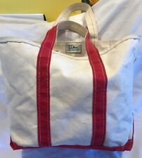 Vintage 80's LL Bean Boat & Tote Medium Red Trim Made In Freeport Maine VGUC