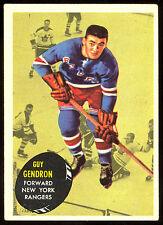 1961 62 TOPPS HOCKEY #57 GUY GENDRON EX+ NEW YORK N Y RANGERS CARD