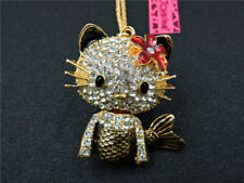 New Lovely Crystal Enamel Cat Mermaid Betsey Johnson Pendant Sweater Necklace