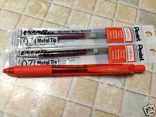 Pentel Energel BL107 Retractable 0.7mm gel pen + 2 x  Orange Refills
