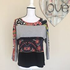 Desigual 3/4 Sleeve Top Shirt Floral Black Lace And Gold Thread Detail, Size M