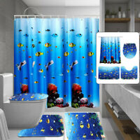4PC/Set Bathroom Shower Curtain+Non-Slip Pedestal Rug+Lid Toilet Cover+Bath Mat