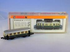 N Scale Arnold 2963 2nd & 3rd Class Rail Bus & 3rd Class Coach Car
