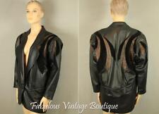 Vtg LILLIE RUBIN Textured Genuine Leather Coat Jacket Blazer Batwing Sleeves 4
