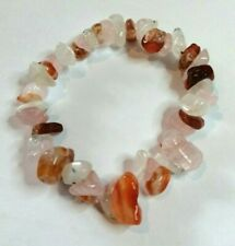 CARNELIAN, ROSE QUARTZ & MOONSTONE CHIP BEAD HEALING CRYSTAL BRACELET FERTILITY