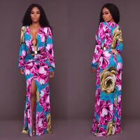 Ladies Summer Vintage Boho Long Maxi Evening Party Beach Dress Floral Sundress
