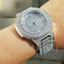 Men's Luxury Iced Hip Hop White Gold Plated Migos Rapper's Metal Band Watch