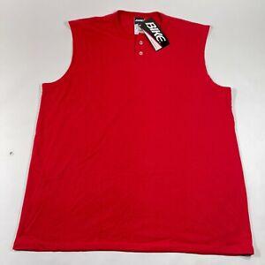 Vintage Bike Athletic Tee T Shirt Tank Top Mens 2XL Red Henley Cotton Blend