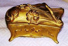 """Art Nouveau Metal Jewelry Casket """"N.N. Rogers S.P.C."""" Gold Color"""