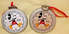 "2 Walt Disney Co. VINTAGE WOODEN MICKEY MOUSE ""Pocket Watch"" CHRISTMAS ORNAMENT"