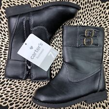 7861a1024903 Carter s Toddler Girls Size 7 Black Faux Leather Side Zip Riding Boots
