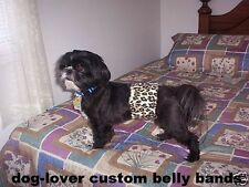 """3  Dog Belly Bands 5""""  Extra Wide U-Pick Fabric W/Pocket -Custom Fit To Your Dog"""