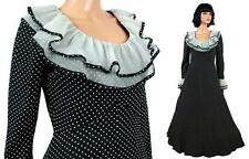 50s 60s Cocktail Dress Sz S Vintage Long Black White Polka Dot Chiffon Prom Gown