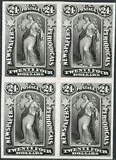 #PR76P3 BLOCK OF 4 PLATE PROOF ON INDIA PAPER; BLACK 24¢; XF+ BN9717