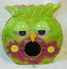 Owl Shaped Hand Painted Pressed Metal Birdhouse