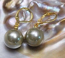 12mm Round south sea shell pearl 14K GP Hook dangle earrings AAA Grade