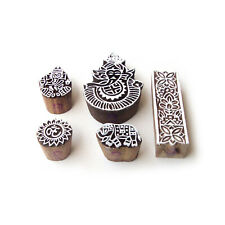 Ganesha and Elephant Indian Designs Wooden Printing Stamps (Set of 5)