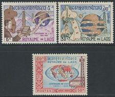LAOS N°114/116** U.I.T, TB, 1965, Satellite, map, radio  SC#109-111 MNH