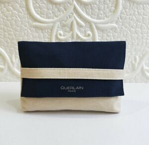 Guerlain Navy Blue & Beige Canvas Makeup Cosmetic Bag / Pouch / Case, Brand NEW!