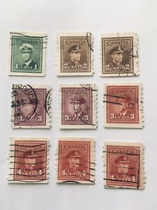 Canada GV1 Set Of  Coil Stamps Imperf X 8 Good Used