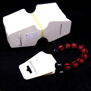 Fashion Jewelry Necklace Bracelet White Hanging Display Paper Cards  30X70mm