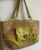 Authentic Coach Straw/Raffia Front Pocket Tote Satchel 2 Hang Tags #22904 $298