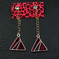 Betsey Johnson Red Crystal Triangle Ear Stud Women's Earrings Jewelry