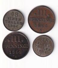 Mecklenburg-Strelitz 1/48 Taler 1855, 1864 und 2 x 3 Pfennig nsw-leipzig