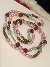 "54"" Multicolor Baroque Fresh Water Pearls & Semi Precious Stone Necklace #C1"
