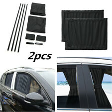2Pcs Black 39cmx50cm Car SUV Window Sunshade Valances Windshield Visor Curtain