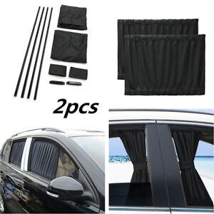 2Pcs Black 39cmx50cm Car SUV Window Sunshade Valances Windshield Visor Curtain