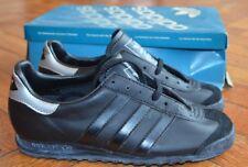"""Vintage ADIDAS """"COACH"""" Black LEATHER Shoes -- 80's DEADSTOCK -- ARGENTINA UNIQUE"""
