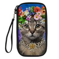 Travel Clutch Bag Passport Holder Elegant Cat Women Shoulder Neck Purse Wallet