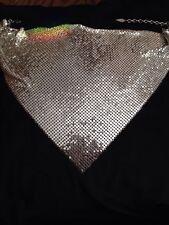 Vintage Signed Whiting & Davis Silver Metal Mesh Bib Necklace Choker